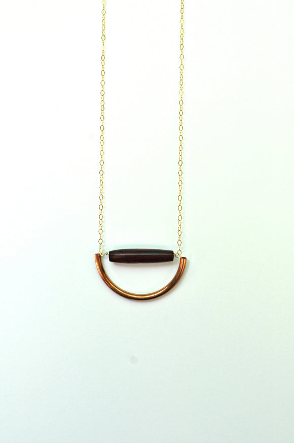 Necklace - Copper & Bone Ajna Necklace - Copper half circle with Red Bone cylinder on Gold Chain -