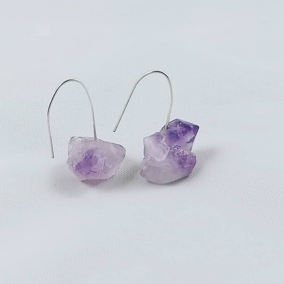 Earrings - Amethyst Earrings - Raw Amethyst on Sterling Silver