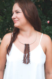 Necklace - Silver and Fringe Necklace - Leather Corded Necklace - Statement Necklace - Boho Jewelry