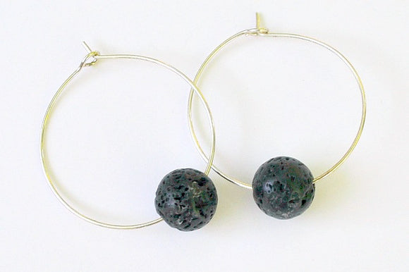 Earrings - Black Lava Rock Hoop Earrings - Diffuser Jewelry - Simple Hoops