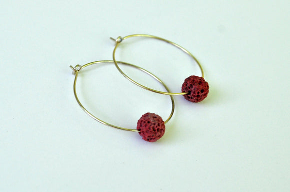 Earrings - Hoop - Lava Stone Hoop Earings - Rose Lava Rock on Sterling Silver Hoop - Aromatherapy Jewelry