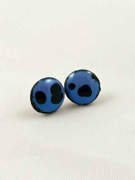 Earrings - Studs - Enamel Circle Studs - Blue & Black