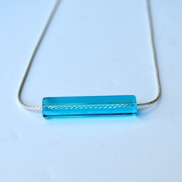 Necklace - Glass Bar on Sterling Silver