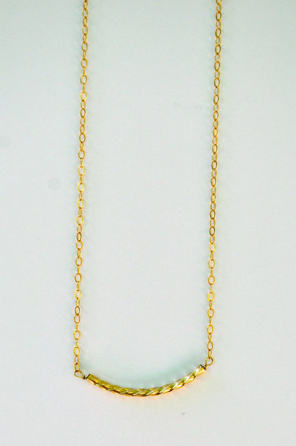 Necklace - Gold Twist Necklace - 14K Gold Fill Twisted Bar on 14k Gold Chain -Simple Bar Necklace