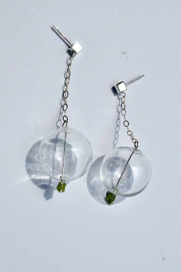 Earrings - Bauble Birthstone Earrings - Glass Bauble Earrings with Birthstone -Hand Blown Glass Earring - Dangle Earrings