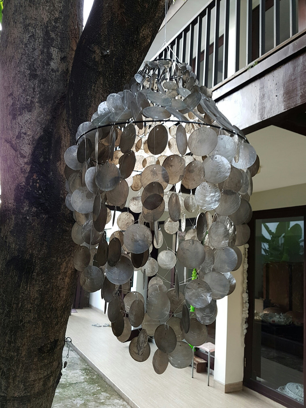 Black Capiz Chandelier Shade (23