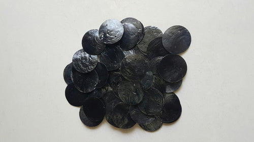 50 Round Black Capiz Shell Disks 1.5