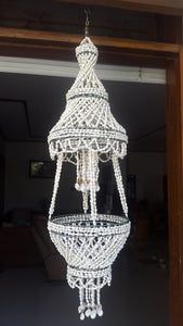 White Nassa Shell Chandelier Hanging Planter