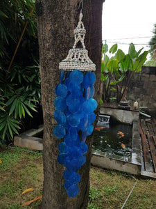 "Blue Capiz Nassa Shells Wind Chime Garden Decor/Beach Wedding Decor (25"")"