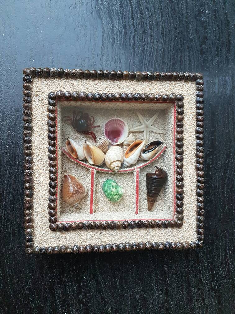 Seashell Square Frame Wall Hanging/Shell Art