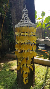 Yellow Capiz Shells and White Nassa Shells - Wind Chime Garden Decor