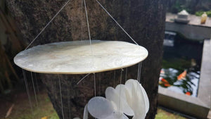 "Capiz Canopy Wind Chime Spiral - Garden Decor/Beach Wedding Decor (22"")"