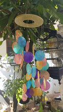 "Wooden Ring Rainbow Capiz Shells Wind Chime Spiral - Garden Decor/Beach Wedding Decor (22"")"