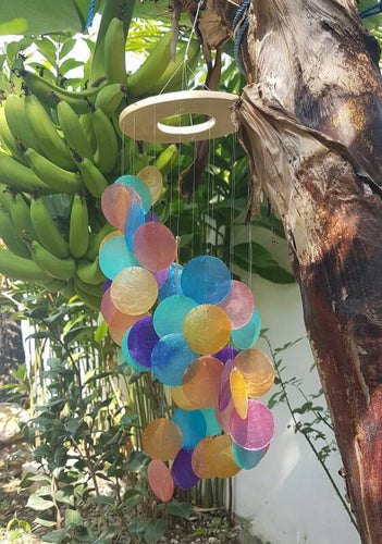 Wooden Ring Rainbow Capiz Shells Wind Chime Spiral - Garden Decor/Beach Wedding Decor (22