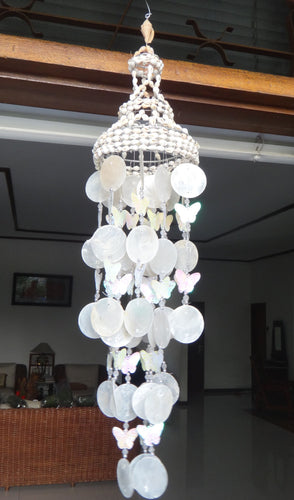 White Capiz Seashells Wind Chime Garden Decor/Beach Wedding Decor (25