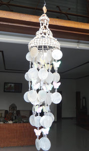 "White Capiz Seashells Wind Chime Garden Decor/Beach Wedding Decor (25"")"