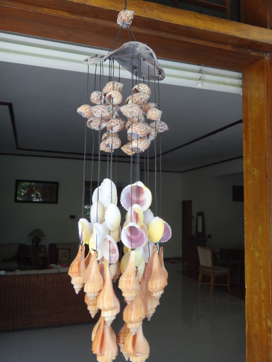 Natural Capiz Top Wind Chime Hanging Decor