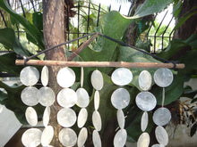 "Capiz Shells on Tamarind Wood Stick - Windchime Garden Decor/Beach Wedding Decor (25"")"