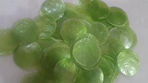 50 Round Green Capiz Shell Disks 1.5""