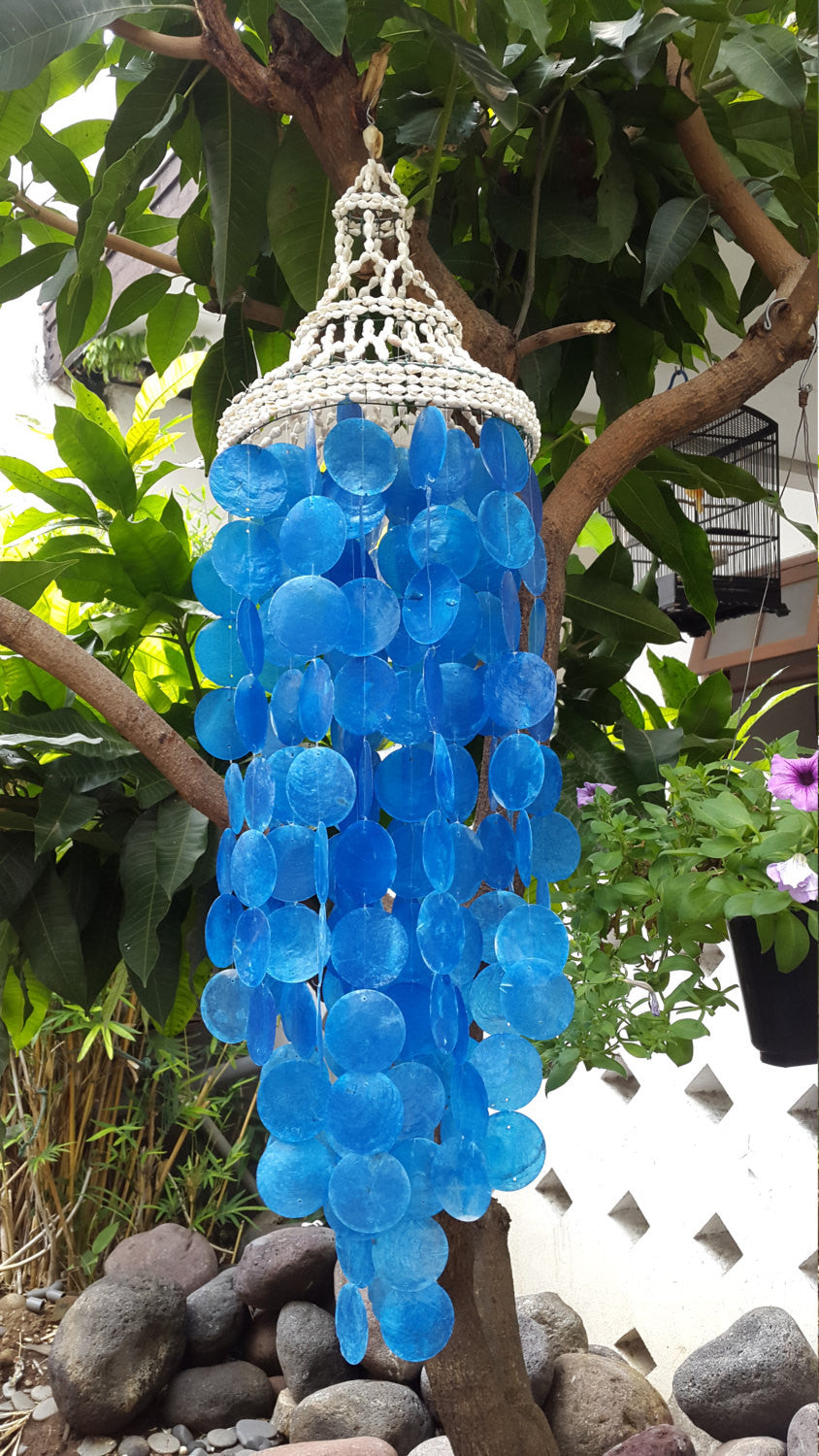 Nassa Blue Capiz Shells Wind Chime Garden Decor/Beach Wedding Decor (31