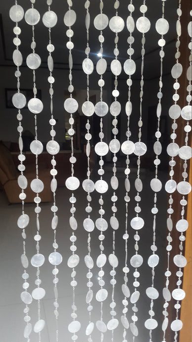 White Capiz Round Mix - Door Curtain Round/Beach Wedding Decor/Curtain Backdrop