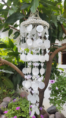 White Capiz Shells Butterfly Wind Chime Garden Decor/Beach Wedding Decor