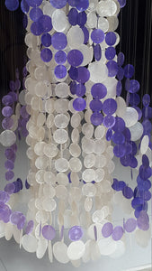 "Long Capiz Chandelier - Purple Spiral (78"")"