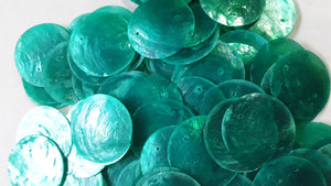 50 Round Green Tosca Capiz Shell Disks 1.5""