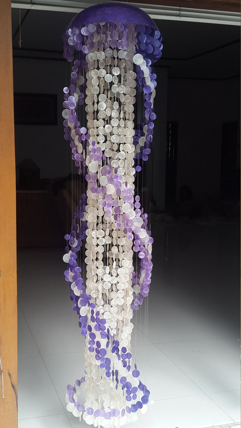 Long Capiz Chandelier - Purple Spiral (78