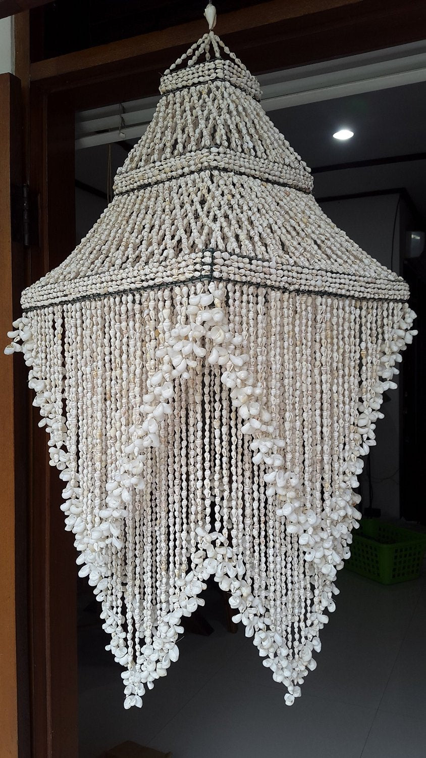 Large Raindrop White Nassa Chandelier Shade