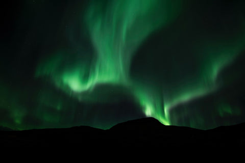 Green northern lights in sky