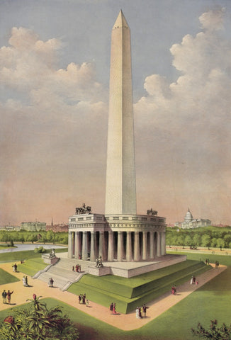 Currier & Ives. - Print c.1885 - The National Washington Monument