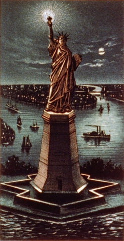 Currier & Ives. - Print c.1884 - Statue of Liberty at night