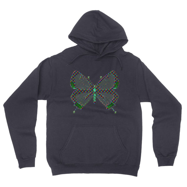 Green Rainbow Butterfly California Fleece Pullover Hoodie