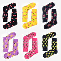 1 Pair Cherry/Grapefruit/Pineapple Cotton Knitting Fashion Lady Women Cute Crew Socks Jacquard Happy Socks New