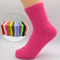 1 Pair Cute Candy Color Solid Soft Women Fluffy Socks Coral Velvet Winter Warm Home Indoor Floor Girls Terry Towel Fuzzy Socks