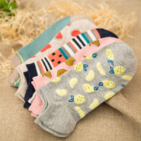 1 Pair Cute Casual Cotton  Fruit Striped Short Ankle Sock Soft Boat Socks Accessories For Women Girl