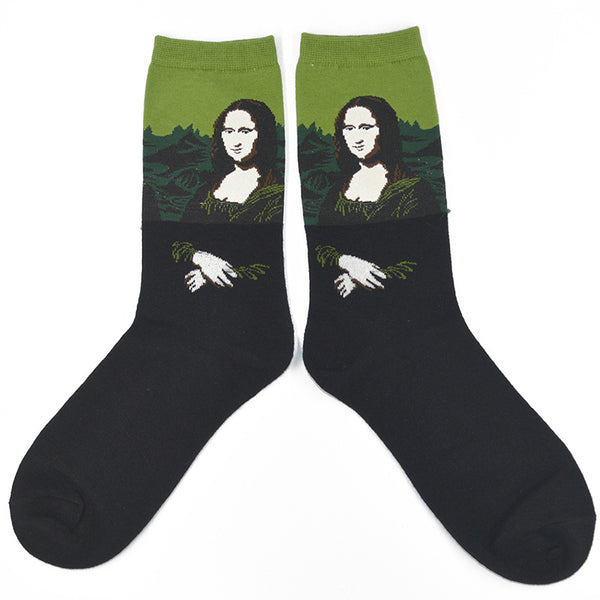 1 Pair Famous Oil Painting Mona Lisa Art Women Socks Cotton Harajuku Fashion Funny Girls Long Socks
