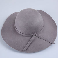 (13 Colors)High Quality 100% Wool Fashion New Vintage Women Ladies Floppy Wide Brim Wool Felt Fedora Cloche Hat Cap