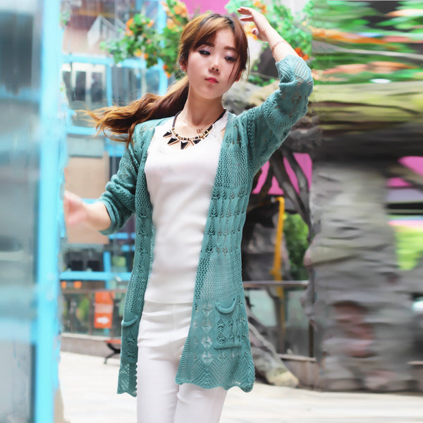 ef4156733eb7 ... 2017 Ladies Crochet Tops Fashion Women Beach Cardigan Spring Summer  Hollow Out Knitted Sweaters Size Rebecas ...
