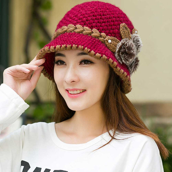 65cd8f436f1 2017 New Fashion Women Lady Winter Warm Casual Caps Female Beautiful Wool  Crochet Knitted Flowers Decorated ...