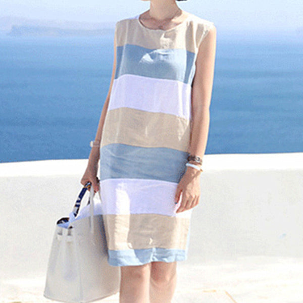c6cba9c76b78 2018 Cotton Linen Striped Summer dress Women basic Sleeveless dresses Boho  Midi beach Sundress Casual women s ...