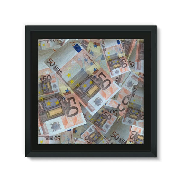 50 Euro Banknotes Framed Canvas 12X12 Wall Decor