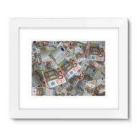 50 Euro Banknotes Framed Fine Art Print 24X18 / White Wall Decor