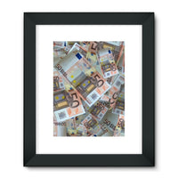50 Euro Banknotes Framed Fine Art Print 24X32 / Black Wall Decor