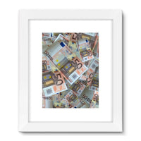 50 Euro Banknotes Framed Fine Art Print 24X32 / White Wall Decor