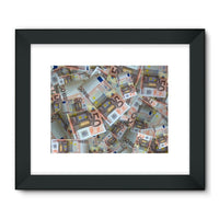 50 Euro Banknotes Framed Fine Art Print 32X24 / Black Wall Decor