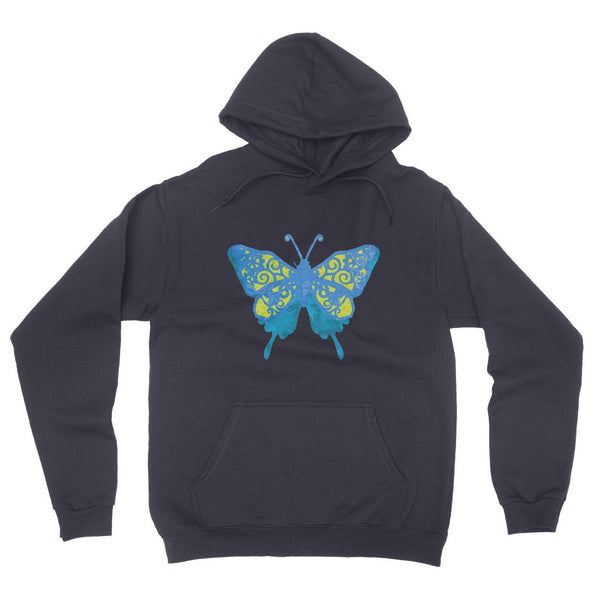Blue Yellow Butterfly California Fleece Pullover Hoodie