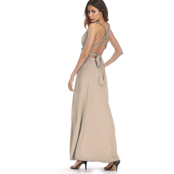 Aonibeier Sexy Women Maxi Club Dress Bandage Long Party Multiway Swing Dresses Convertible Infinity Robe Longue Famle 2018 Beige