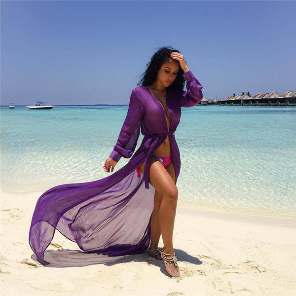 Beach Cover ups Tunic Pareos Swimwear Women 2018 Bikini long sleeve Bandage Cardigan cover up Chiffon Swimsuits Beach Swim Wear